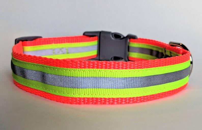 Yellow Reflective Safety Dog Collar / Night Safety image 0