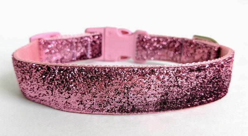 Rose Pink Sparkle Dog Collar / Glitter Dog Collar / Baby Pink image 0