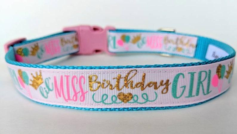 Lil Miss Birthday Girl Dog Collar / Girl Dog Birthday Party image 0