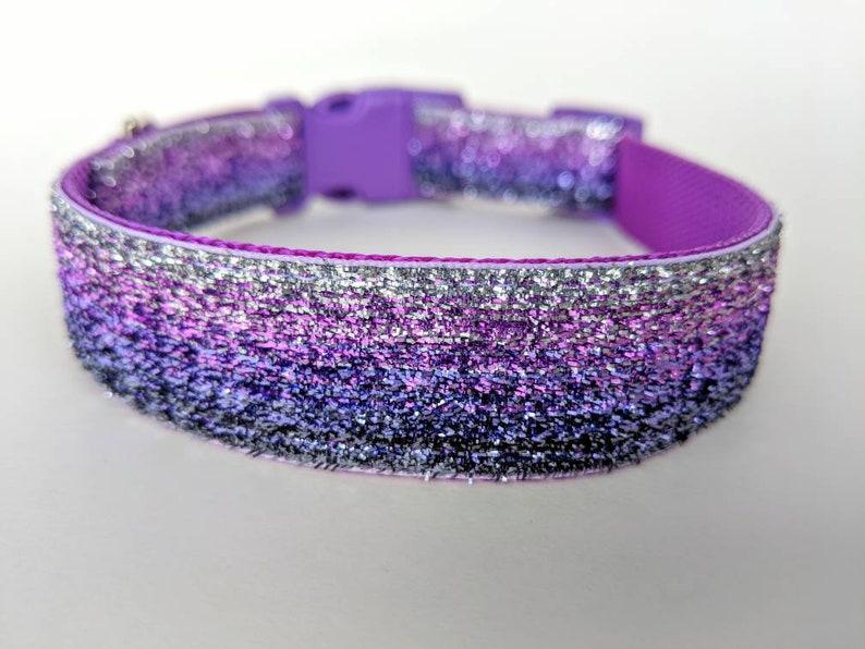 Purple Ombre Sparkle Dog Collar / Purple Silver Ombre / image 0