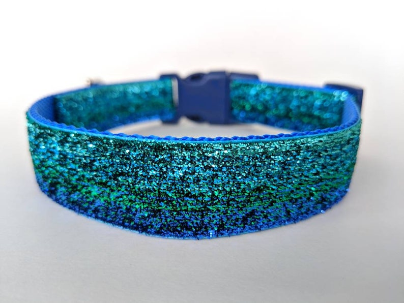 Blue Green Ombre Sparkle Dog Collar / Mermaid Sparkle Dog image 0