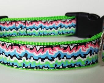 Glowing Graffiti Dog Collar / Glow in the Dark Dog Collar / 90s Dog Collar