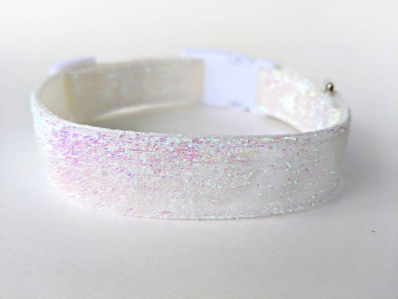 White Iridescent Sparkle Dog Collar / Icicle Dog Collar / image 0