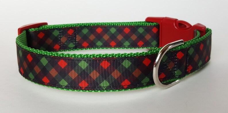 Christmas Plaid Dog Collar / Christmas Dog Collar image 0