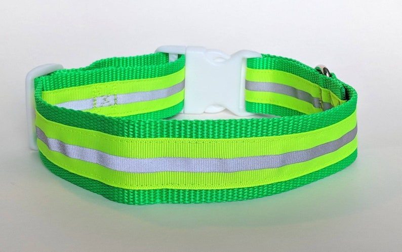 Yellow Reflective Safety 1.5 Inch Wide Dog Collar / Night image 0