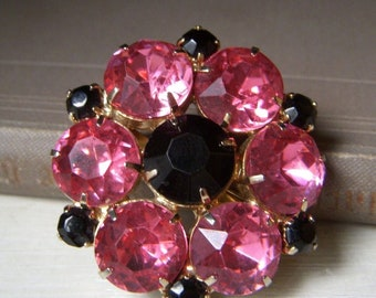 Vibrant Pink and Black Rhinestone Brooch, Vintage Floral Brooch Mid Century, Large Rhinestones, Neon Pink