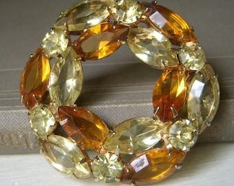 Vintage Pale Yellow and Amber Rhinestone Brooch, Wreath Shape Pin, Circular Goldtone Estate Costume Jewelry, Warm Tones
