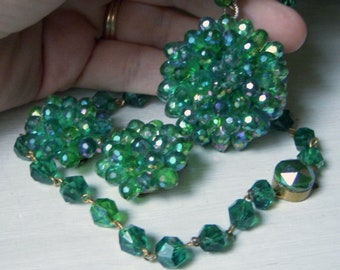 Vintage West German Emerald Green Cluster Necklace and Earrings Western Germany Mid Century Large Pendant, Wired Cluster Matching Clip Ons