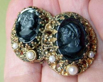 Mid-Century Modern Art Moderne West German Marcasite Clip-On Earrings