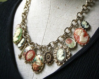 Vintage R J Graziano Cameo Charm Necklace, Lady Cameo, Signed Designer, Gold Tone 16.75 Inch, 3.5 Inch Extender