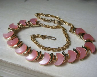 Vintage Pink Moonglow Necklace, Crescent Moon, Thermoset Lucite Set, Mid-Century Goldtone Choker, 1950's Adjustable Necklace