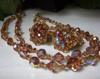 Vintage Smoky Quartz Aurora Borealis Crystal Necklace Earrings, Swarovski AB Double Strand Necklace, Cluster Clip On Earrings, Two Strand