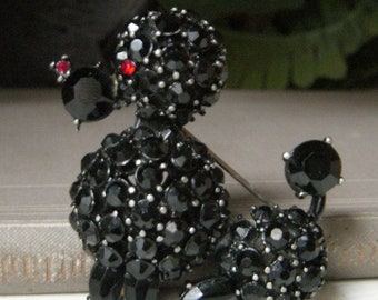 Vintage Black Rhinestone French Poodle Brooch, Japanned Metal, Large Dog Pin, Mid Century Jewelry