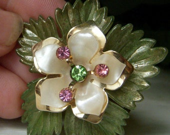 Vintage Maple Leaf Pin, Pink and Green Rhinestone, Mother of Pearl Brooch, Floral Leaf Pin
