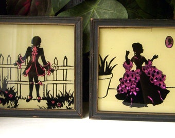 Vintage Pair of Silhouette Pictures, Colonial Man and Woman, Pink Foil Butterfly Wing, Reverse Painted Pictures, Set of Two