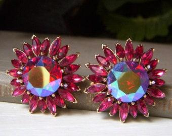 Rare Crown Trifari Ruby Rhinestone Floral Earrings, Vintage Red Clip-ons, Ruby AB Aurora Borealis Crystal, Stunning Signed Trifari Jewelry