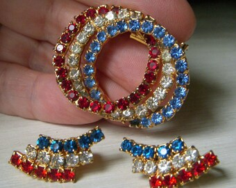 Vintage Patriotic Red White and Blue Brooch and Earrings Set, American Mid Century Estate Jewelry, Rhinestone Clip Ons and Pin