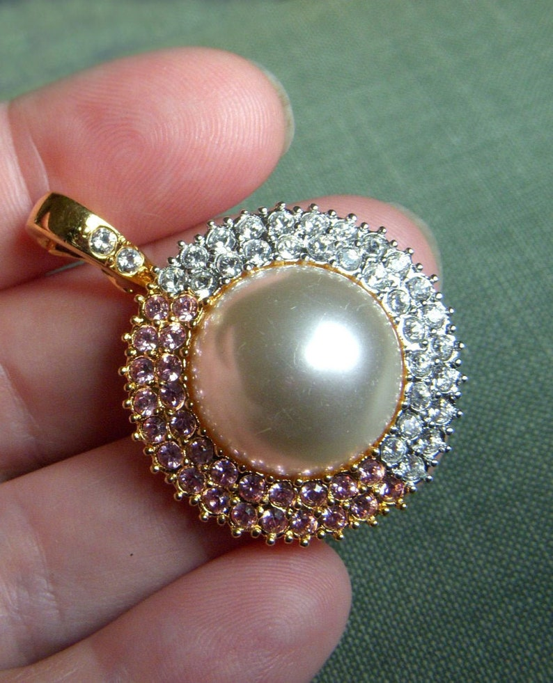 Gorgeous Vintage Signed Nolan Miller Pendant Pink and Clear Rhinestone Pendant Only Large Faux Pearl and Rhinestone Pendant