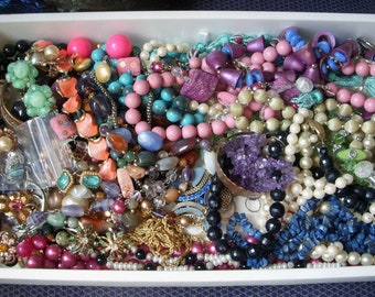 Nearly 3 Pounds of Vintage Jewelry, All Wearable, Nothing Broken, Large Mixed Lot of Necklaces Bracelets Earrings Gemstone, Very Nice