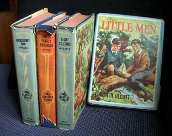 Lot of Four 1940's Vintage Children's Classics Hardcover Dust Jacket Books, Alcott, Swiss Family, Huckleberry Finn, Little Men Eight Cousins