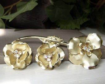 Vintage Long-Stemmed Rose Brooch and Earrings, Rhinestone Floral Set, Goldtone Mid Century Flower Pin and Clip Ons