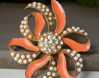 Vintage Coral Enamel Floral Brooch, Rhinestone and Faux Pearl Pin, 1960's Goldtone Pin