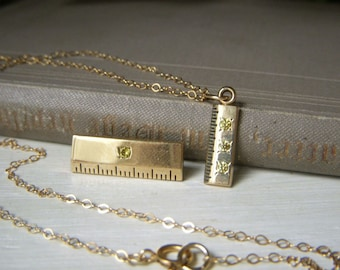 Vintage Gold Filled Ruler Necklace and Pin Set, Green Peridot Accents, Gift for Math Teacher, Minimalist Jewelry