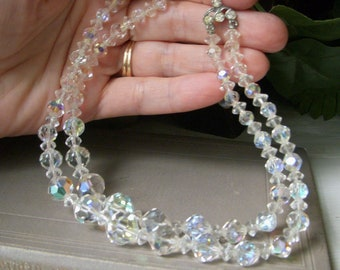 Vintage Clear Crystal AB Choker Necklace, 1950's Aurora Borealis Beaded Necklace, Double Two Strand, Great Condition, Teen Size Small