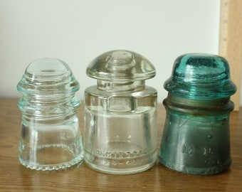 Vintage Hemingray 16 Insulator CD122 Clear Glass For Long Distance Telephone Very Good Condition.