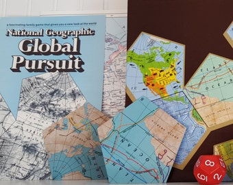 Global pursuit etsy 1987 global pursuit national geographic game never been played map game world map pentagon geography learning board game complete gumiabroncs Gallery