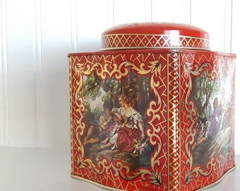 Daher Tin, English Tea Tin, Countryside Romantic Scenes, Red and Gold Elaborate Flowers, Metal Storage, Home Decor