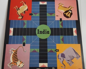Vintage India Jungle Animals and Checkers 11.5X11.5 Game Board, Lion, Tiger, Camel, Elephant, Vintage Cardboard Game