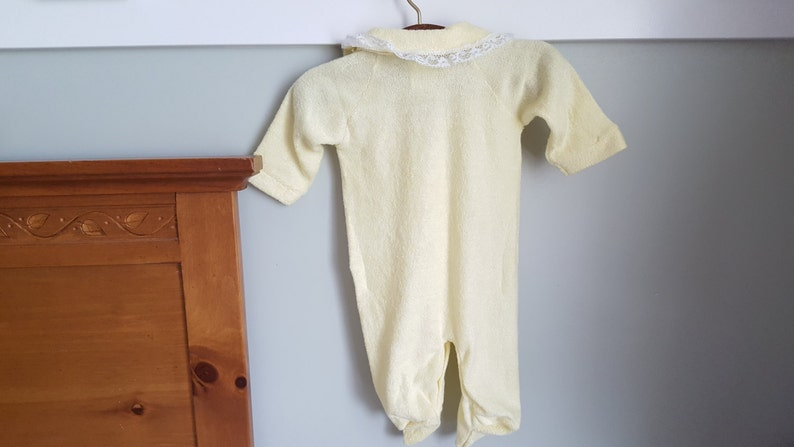 b073da05ba5e Yellow Soft Terry Sleeper Size Small Made in the USA Lace