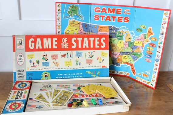Game of the States, 1960 Milton Bradley Board Game, United States Map,  Incomplete