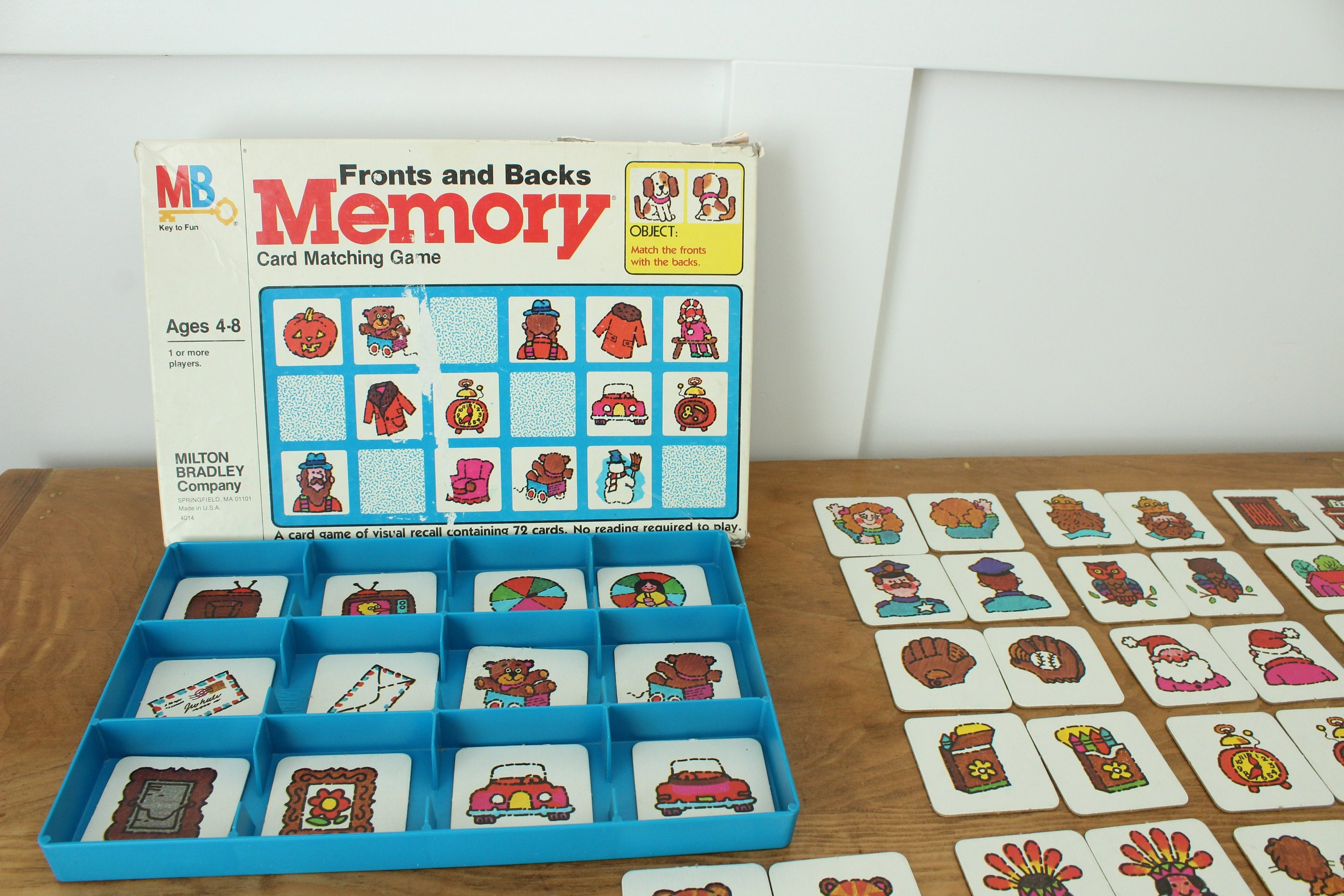 Fronts and Backs Memory Game, Complete, Milton Bradley 1980, Matching Game,  Children's Learning Game