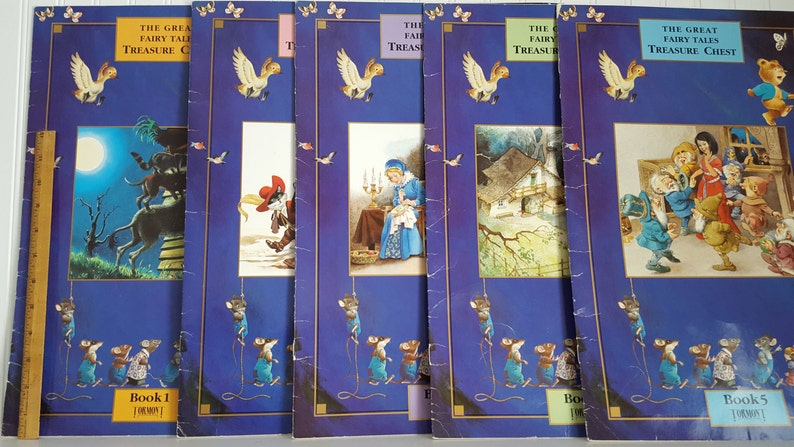 11 5 by 17 5 Large Format Fairy Tale Books, 1990 Tormont Paper Back, The  Great Fairy Tales Treasure Chest, Book 1-5