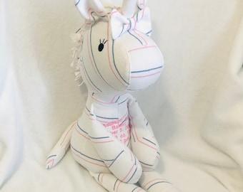 Keepsake unicorn from clothes/birth stat unicorn/keepsake unicorn from baby clothes/baby shower/sympathy/hospital blanket unicorn/photo prop