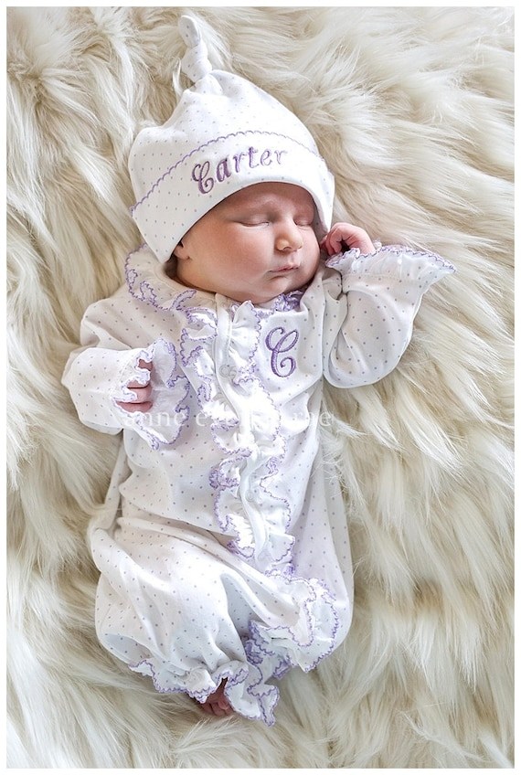 Baby Girl Coming Home Outfit Ruffled Converter Gown Take Home Outfit Baby Girl Lena's Lavender Dot Ruffled Converter gown Pima Cotton Baby