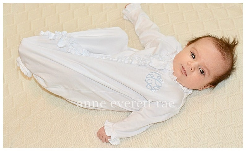 4a40a88362a All White Pima Cotton Ruffled Converter Gown-Baby Girl Coming Home ...