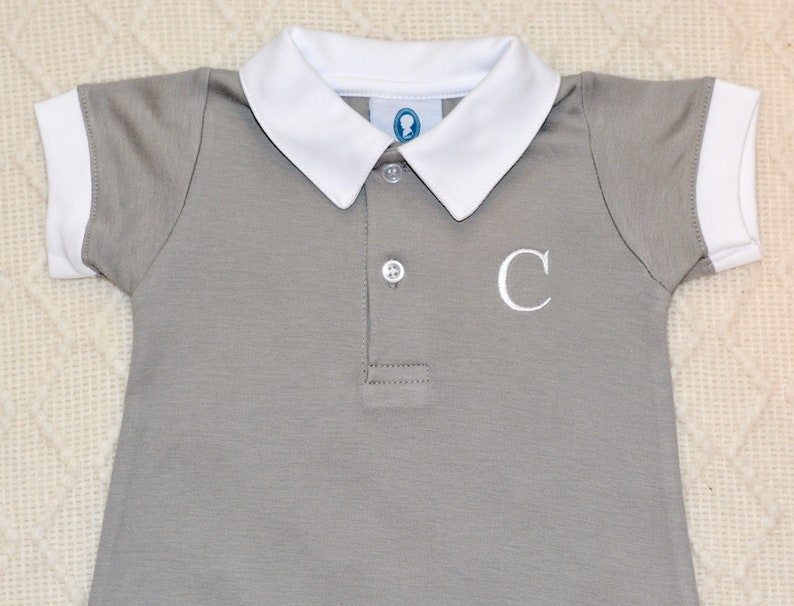 Pima Cotton Polo Outfit-Gray Spring Outfit Baby Shower Gift Designer baby-Matching Brother Outfits Coming Home outfit,Pima Cotton Baby
