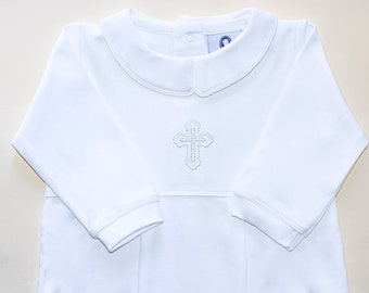 Luke Pima Cotton Baby Baptism Outfit-All White Footed Baptism Outfit-Baby Boy Christening Outfit-Pima Cotton Baby-baby Boy Baptism