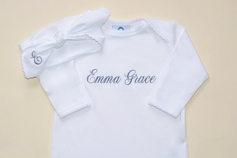 Pima Cotton Enveloped Neck Footie-White w White Trim-Baby Girl Coming Home Outfit-Baby Girl Clothes-Pima Cotton Baby-Personalized baby