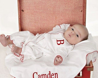 Coming Home Converter Gown,Wade White&Red Converter Gown,New baby,shower gift,newborn pictures