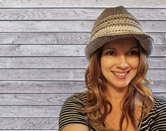 Chill Fedora Hat Crochet Pattern PDF Download Easy Worsted Tutorial for Adult and Child Size Ombre Yarn Braided Band with Brim for Winter