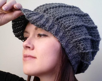 e066f00f New Brunswick Slouch Hat, Crochet Pattern Ribbed Brimmed Peak Cap, Worsted  Wool Easy Spiral Effect Winter Cozy Adult Youth Toddler, Textured