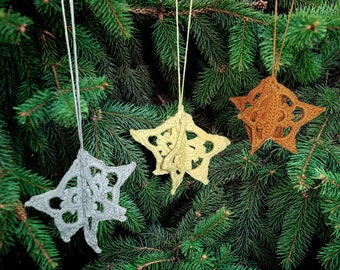 Sectional Star Ornament Crochet Pattern for Holiday Christmas Cute Small Tree Decoration Gift Topper 3D Lace Intermediate Skill Level