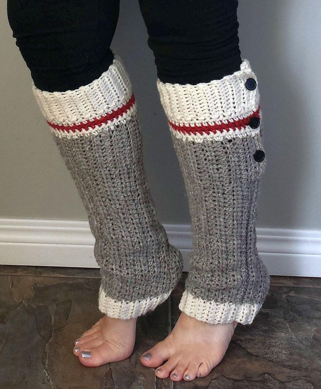 Wool Sock Legwarmers Crochet Pattern Sock Monkey Style Work Etsy