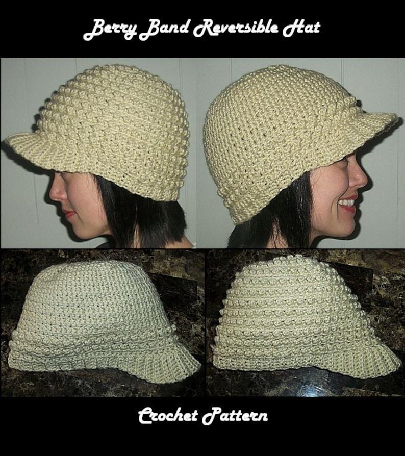 Berry Band Reversible Hat Crochet Pattern with Bill Peak Brim image 0