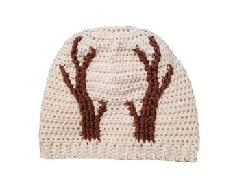 Oh Deer Reindeer Crochet Hat Pattern Beanie Toque with Antlers PDF download digital Tutorial Worsted Intermediate Christmas winter gift