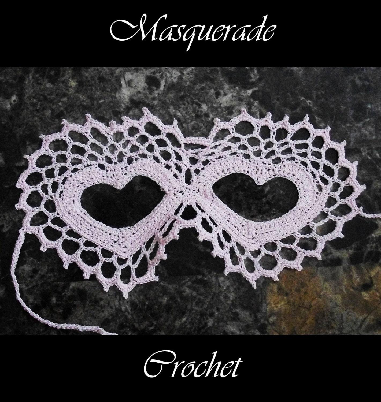 Two Hearts Lace Masquerade Mask Crochet Pattern Pdf Costume Etsy